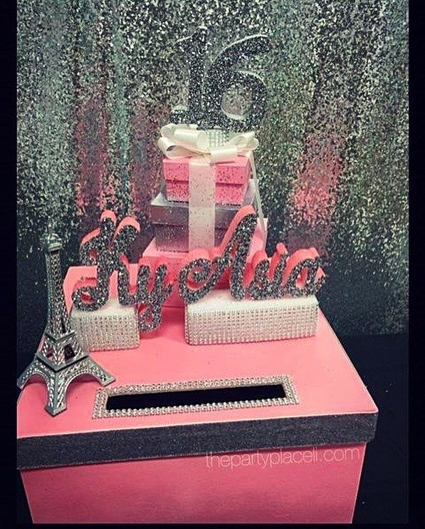 our paris theme card box for a sweet 16 check out our etsy shop my bday party pinterest. Black Bedroom Furniture Sets. Home Design Ideas
