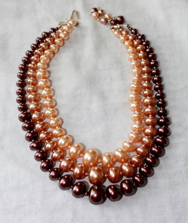 Vintage Bronze, Copper and Pink Triple Strand Necklace