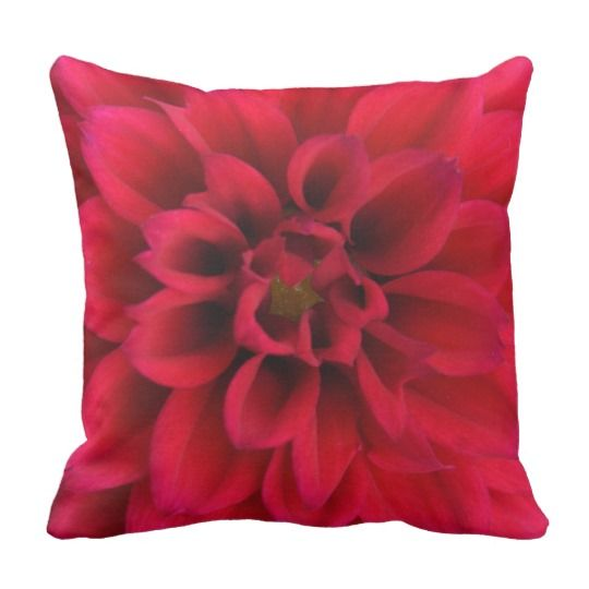Red Dahlia Throw Pillow by www.zazzle.com/htgraphicdesigner* #zazzle #gift #giftidea #red #dahlia #throw #pillow #spring #mothersday