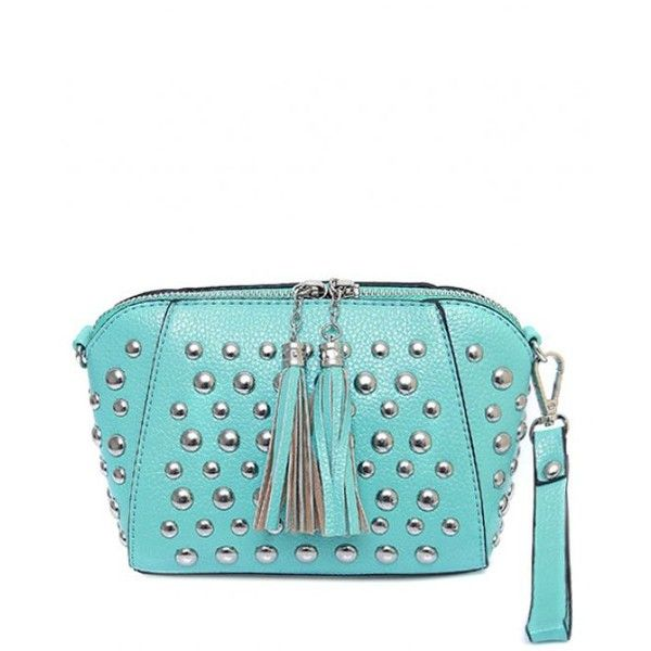 PU Leather Tassel Studded Clutch Bag Tiffany Blue ($18) ❤ liked on Polyvore featuring bags, handbags, clutches, polyurethane handbags, leather tassel purse, white studded purse, blue clutches and blue handbags