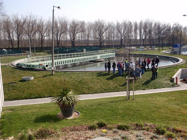 Secondary clarifier after and Organica biological wastewater treatment tank in Budapest, Hungary. Secondary clarfier separates the clean water from the sludge.