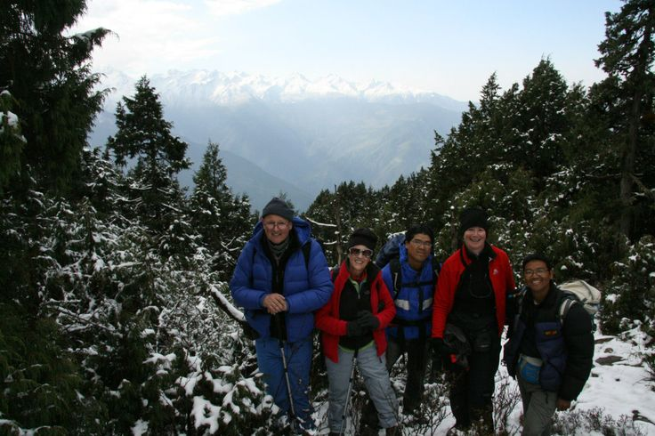 with friends along the route to the high camp and stunning viewpoint of Tamang Heritage trail