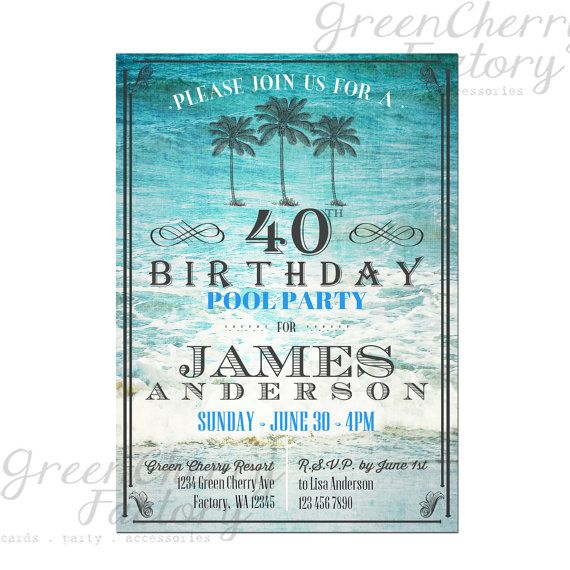 328 best birthday invitations adult images on pinterest birthday adult birthday pool party invitation any age vintage beach background summer sea filmwisefo