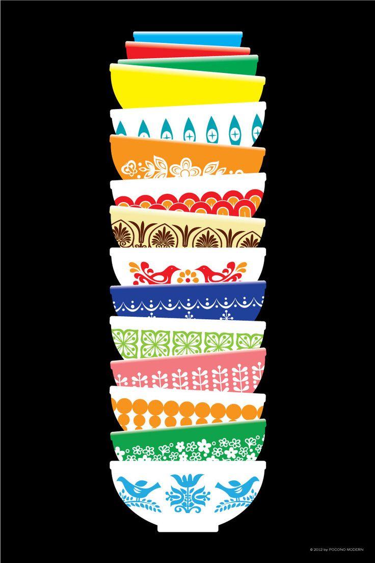 Vintage Pyrex Poster by PoconoModern on Etsy.: Kitchens Art, Posters Black, Travel Tips, Vintage Pyrex, Pyrex Bowls, Design Kitchens, Pyrex Posters, Kitchens Prints, Modern Kitchens Design