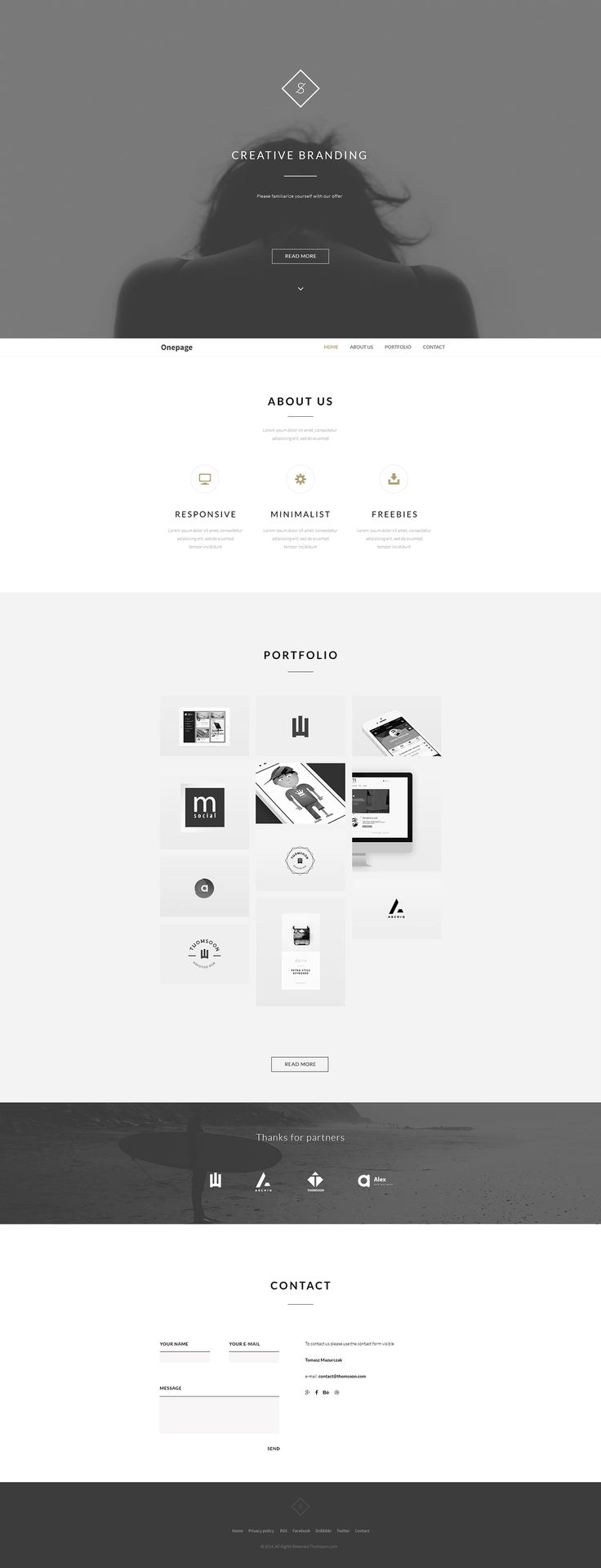 Free responsive modern and clean HTML5, CSS3 and Jquery.One Page minimalist website with content about us, portfolio and contact form. Full screen intro with Parallax. Navigation is sticky to top - header. Additionally Behance API with your portfolio.