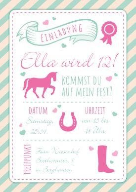 Trendy Einladungskarte Zum 12. Kindergeburtstag Für Echte Pferdefreundinnen  #Pferd#Pony#Hufeisen#