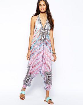 ASOS Pretty Aztec Print Plunge Beach Jumpsuit