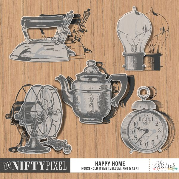 HAPPY HOME | Vellum Elements & Brush Set This pack of retro inspired household items are everything a domestic goddess or god would need in their castle/home. Each element comes as a vellum element which are perfect for layering. Or alternatively you could opt to use the stamp or brush set. Whichever one you choose this pack is really versatile allowing you to create in any way you see fit.  DOWNLOAD INCLUDES:  5X Brush Tips (.abr file) 5X Digital Stamps/Textures (.png) 5X Vellum Elements