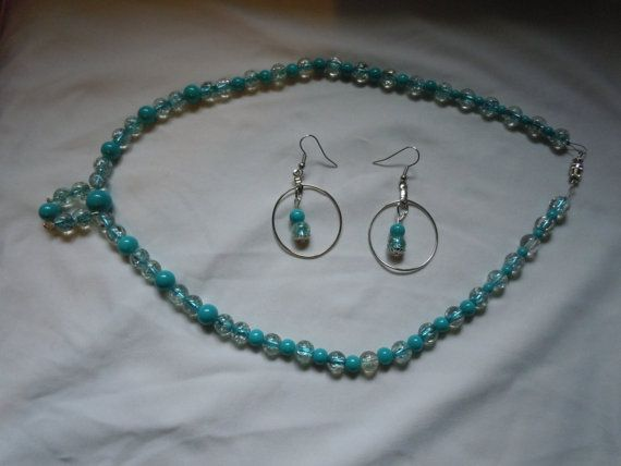 clear glass and blue glass beads hook by PiecesInTheValley on Etsy