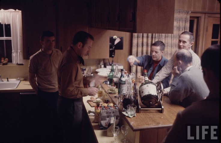 """Apollo 13 party.  Best caption ever: """"Charlie Duke giving Ken Mattingly the measles: in progress."""""""
