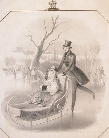 Queen Victoria (1819-1901) and Prince Albert, Prince Consort (1819-1861) skating on the Lake, Frogmore    National Trust Inventory Number 516224