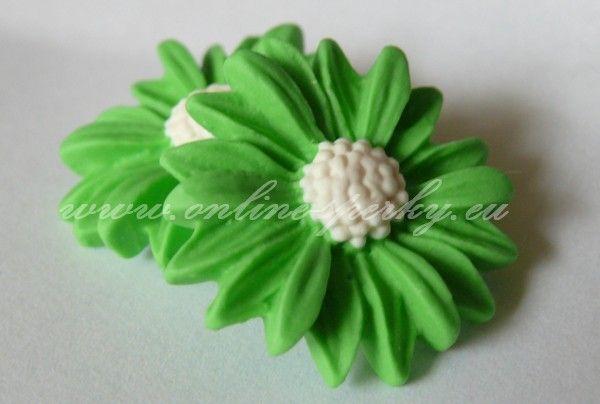 Náušnice - Světle zelené kopretiny 40 Kč