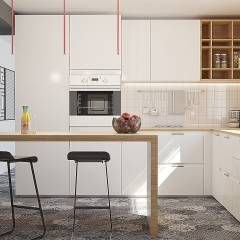 Kitchen Glamora Wallpaper: Cucina in stile in stile Moderno di olivia Sciuto