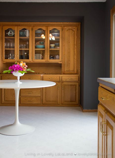 Wall color to off set honey oak cabinet tones south hill Paint colors that go with grey flooring