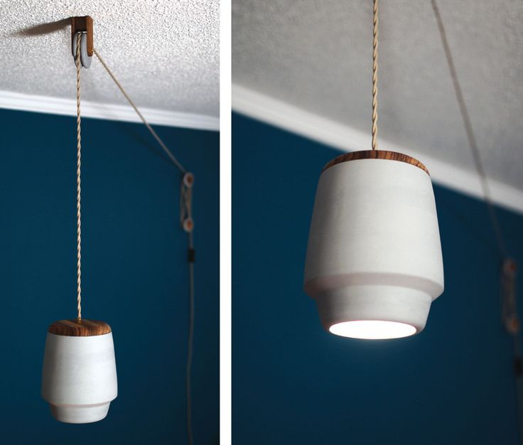 A hanging lamp based off of a pulley that lets you set the height of the lamp to fit your room, giving it the ability to be configured multiple ways.