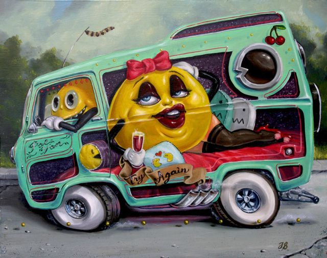 Pac-Van by Jonathan Bergeron: Jonathan Bergeron, Art Illustrations, Classic Videos Games, Pacman, Pac Man, Art Show, Art Posters, Pac Vans, Games Art