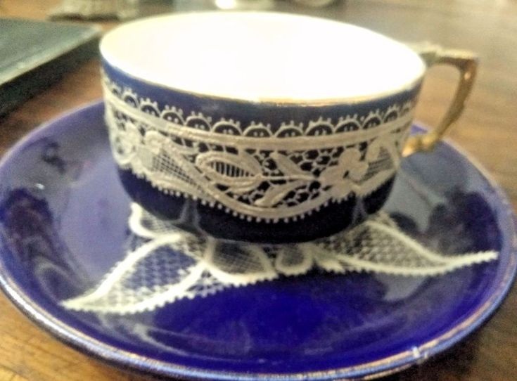 """Vintage Unique Embossed Print  Blue Bone China 5"""" Cup Plate  India"""