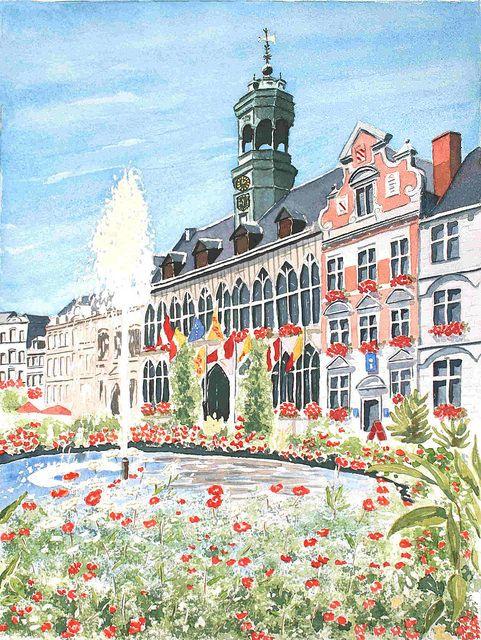 Grand-Place de Mons, aquarelle, Marie-Claire Lefébure