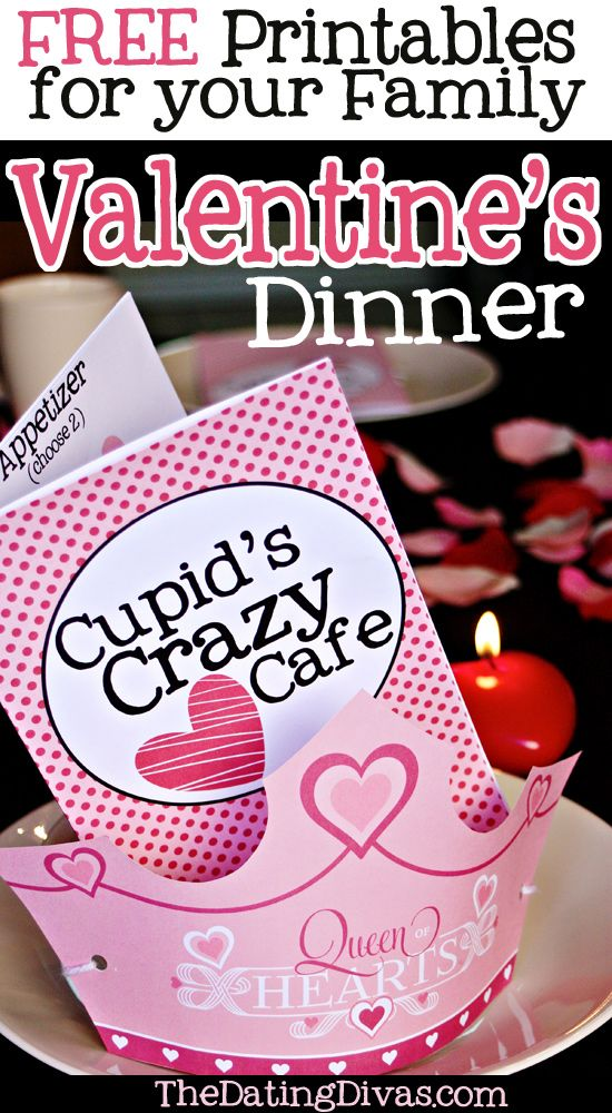 FREE printable menu and crowns for a family Valentine's Dinner.