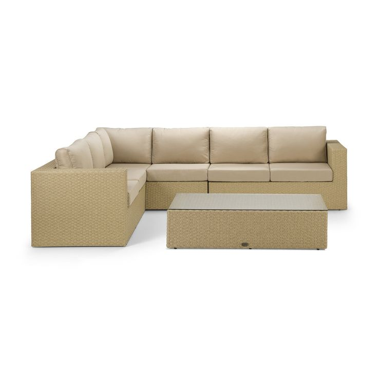 Yasmin Natural Corner Sofa with Coffee Table - This Yasmin rattan sofa set is in our brand new natural wicker style twin-round premium rattan, neatly woven and with adjustable hidden feet.  Cushions are premium quality, shower proof and super thick and will make sure you spend many a lazy weekend not wanting to leave your garden.  The coffee table has a full weave underneath the glass.