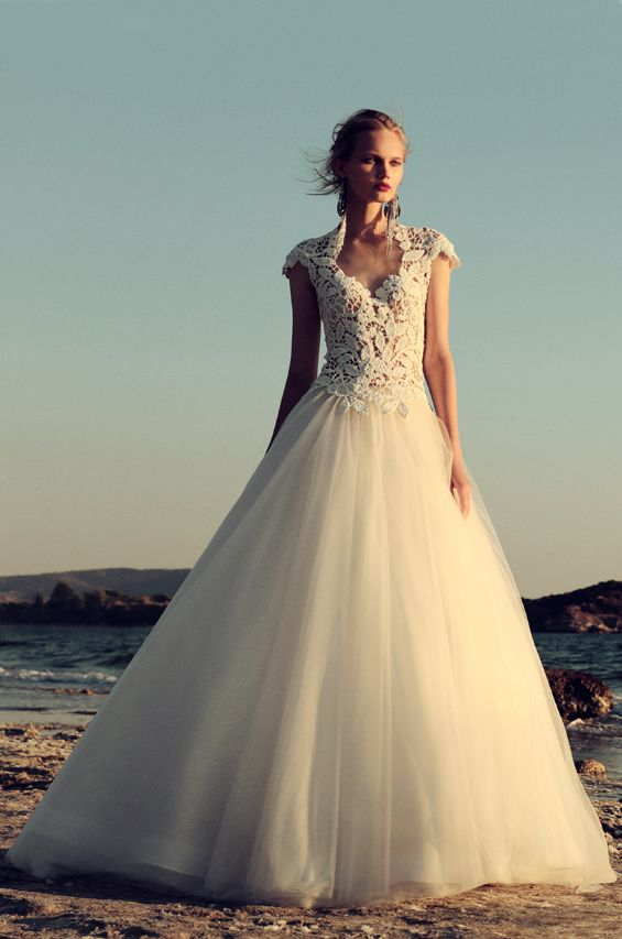 BR 1752 Cap Sleeve Macramé Tulle Ball Gown #weddingdress #bridal2017 #costarellos #bridetobe #brides #lace #novia #abitodasposa #wedding