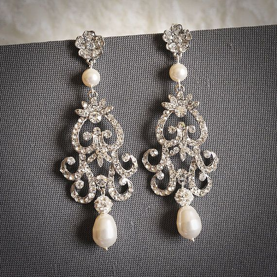 FABIONA, Victorian Style Chandelier Wedding Earrings, Ivory or White Pearl and Rhinestone Bridal Earrings, Flower Dangle Stud Earrings (request no pearls) at $69 on etsy.com