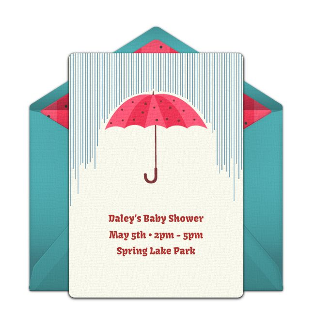 Customizable, free Umbrella online invitations. Easy to personalize and send for a party. #punchbowl