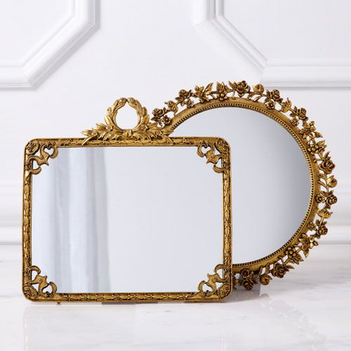 Gold Table Mirror On Stand