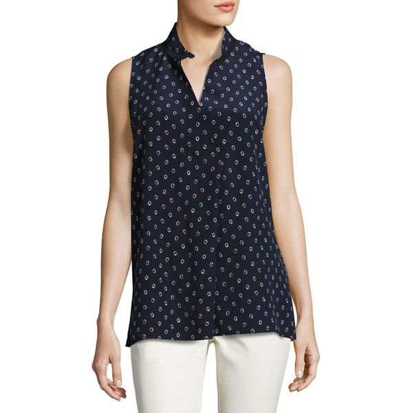 Lafayette 148 New York Eloise Sleeveless Dancing Dot Silk Blouse ($328) ❤ liked on Polyvore featuring plus size women's fashion, plus size clothing, plus size tops, plus size blouses, multi, dot top, lafayette 148 new york, cross over top, polka dot sleeveless blouse and polka dot sleeveless top