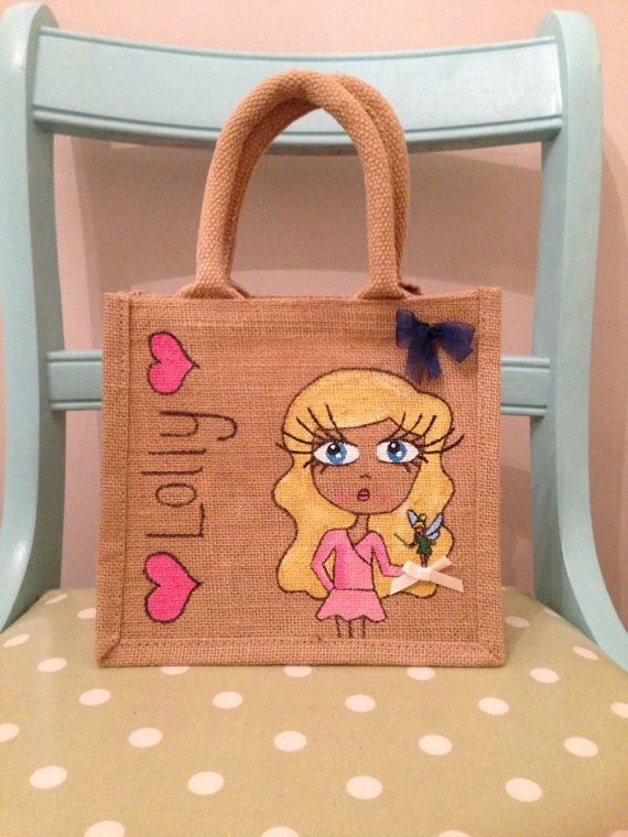 Small personalised jute bag - gift bag - lunch bag on Etsy, £11.00