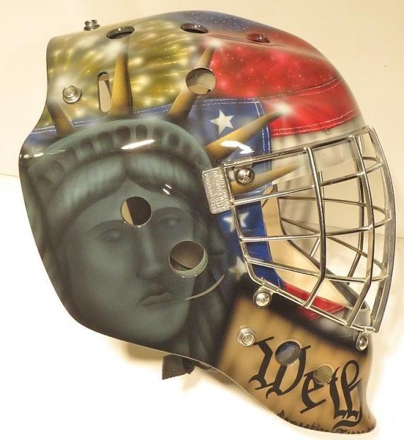 Custom Airbrush Your Goalie Helmet Etsy In 2020 Custom Airbrushing Goalie Goalie Mask