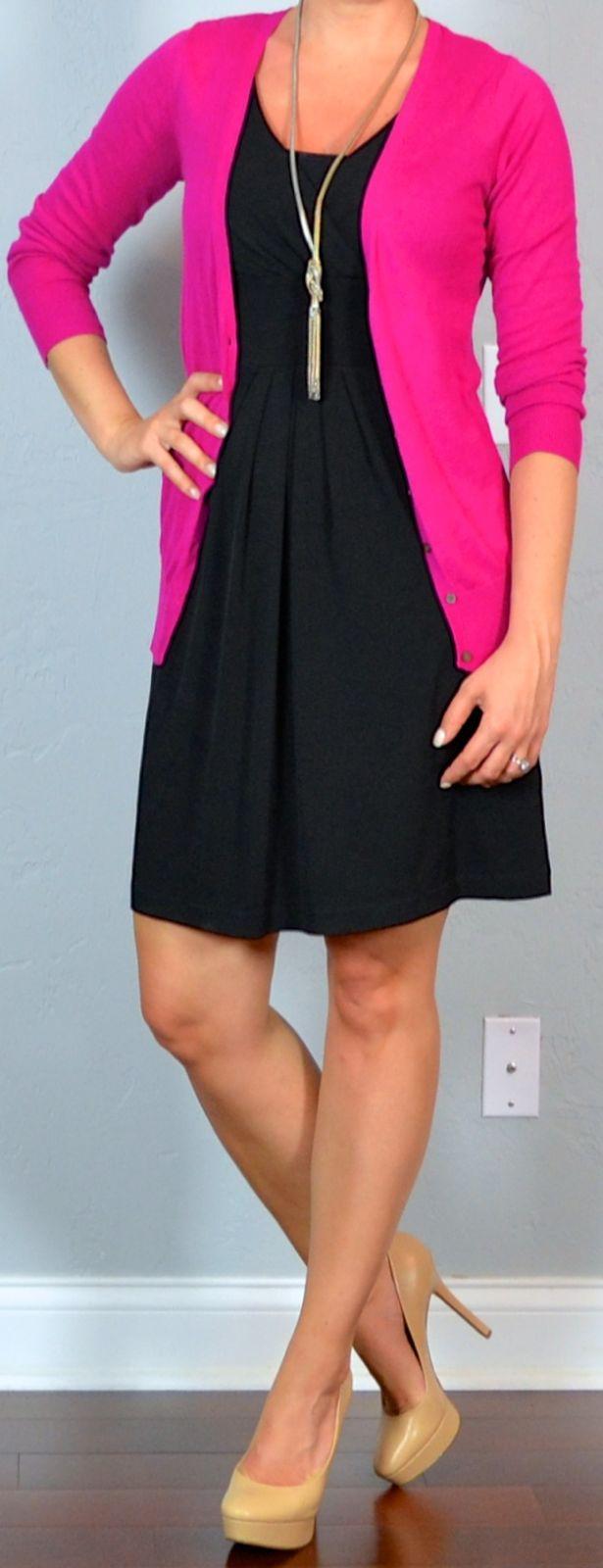outfit post twofer: black dress, pink cardigan, nude pumps & black suit, burgundy camp shirt, black pumps