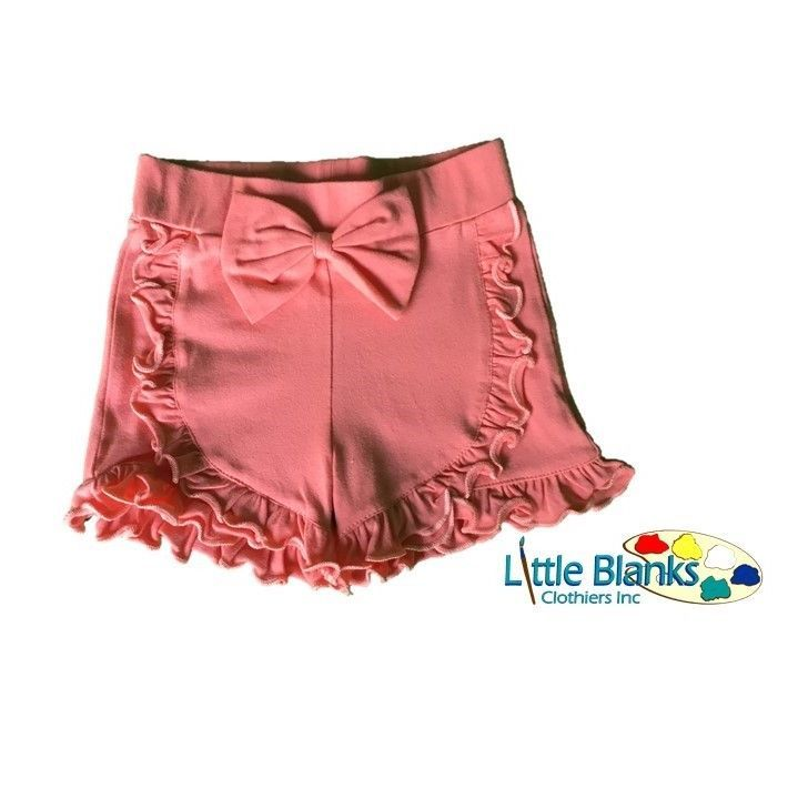 Girls Ruffle Bow Shorts Baby Toddler Coral Peach 9 12 18 M Months 2T 3T 4T 5T #Unbranded #Shorts #Everyday
