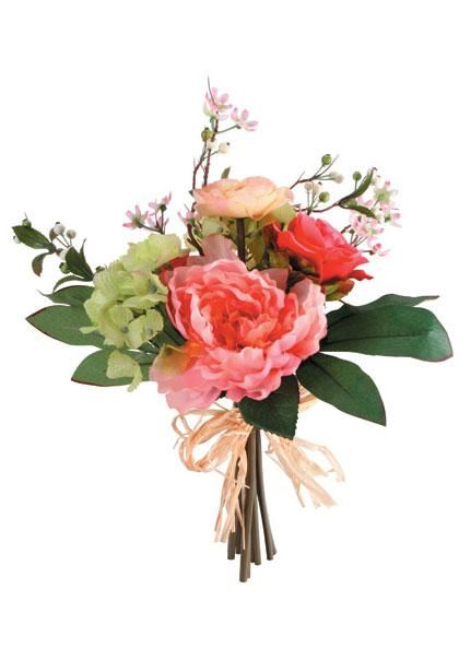 """Artificial Peony, Rose & Hydrangea Bouquet in Two Tone Pink - 14"""" Tall x 10.25"""" Bouquet Diameter"""