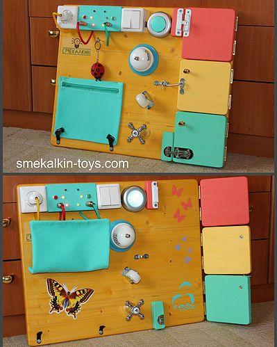 Бизиборд от мастерской Смекалкин, развивающая доска с замочками и лампочками для малыша из г.Тюмень размером 50*40 см.