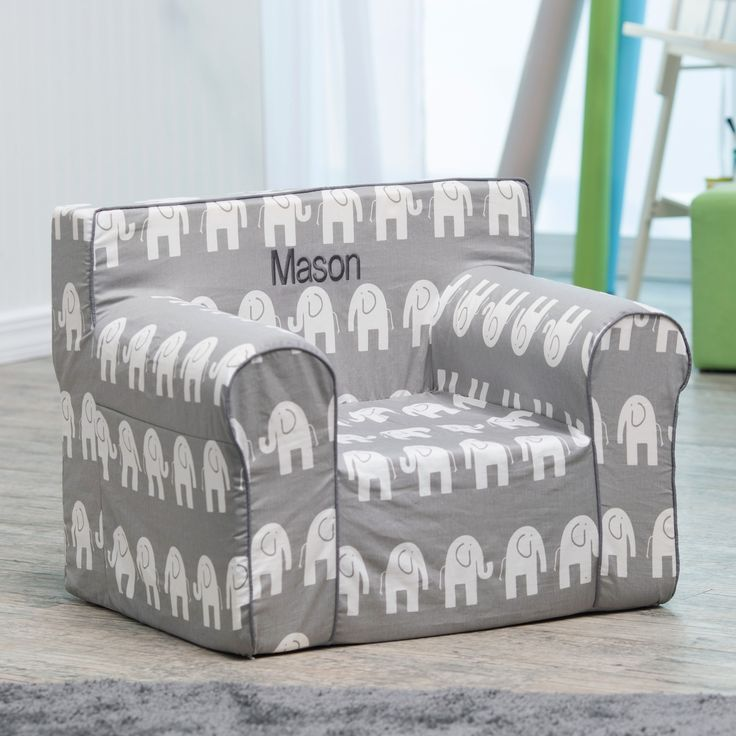 Here and There Personalized Kids Chair - Gray Elephant - Make your child feel extra-special with the Here and There Kids Personalized Foam Chair- Gray Elephant. This lightweight child-size lounging chair is ...