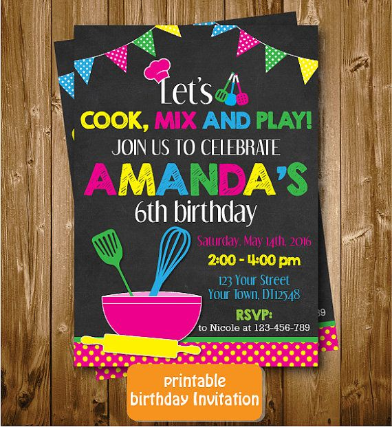 Any Age Printable Chalkboard Let's Cook Mix by RedRedRoseHandmade