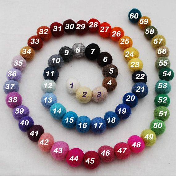 2cm - 100% Wool Felt Balls - 100 Count - Pick and Mix - 60 Colors to Choose