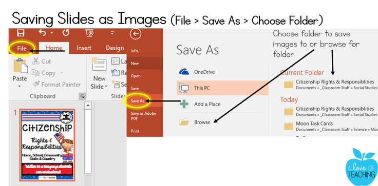 Saving slides as images in PowerPoint