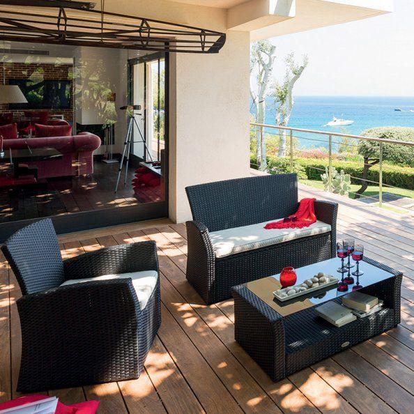 Emejing Salon De Jardin Resine Tressee Taupe Bora Bora Hesperide ...