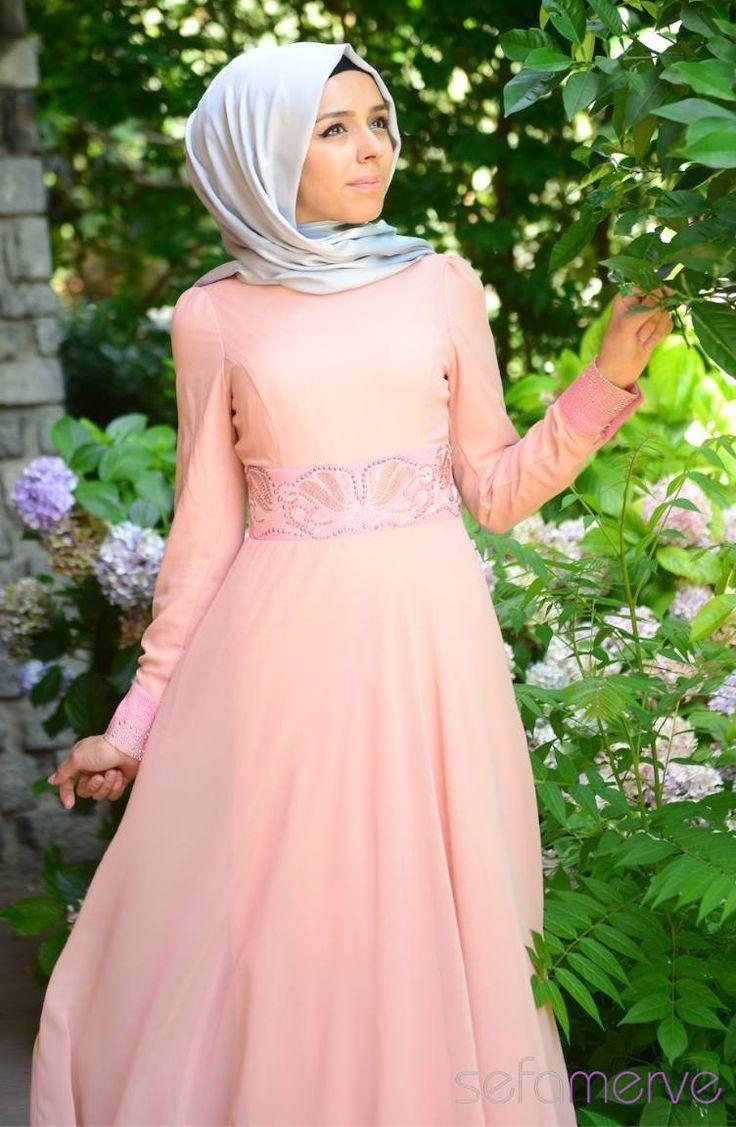2014 Yazlık ZRF Tesettür Elbise 9046BS-01 Pudra
