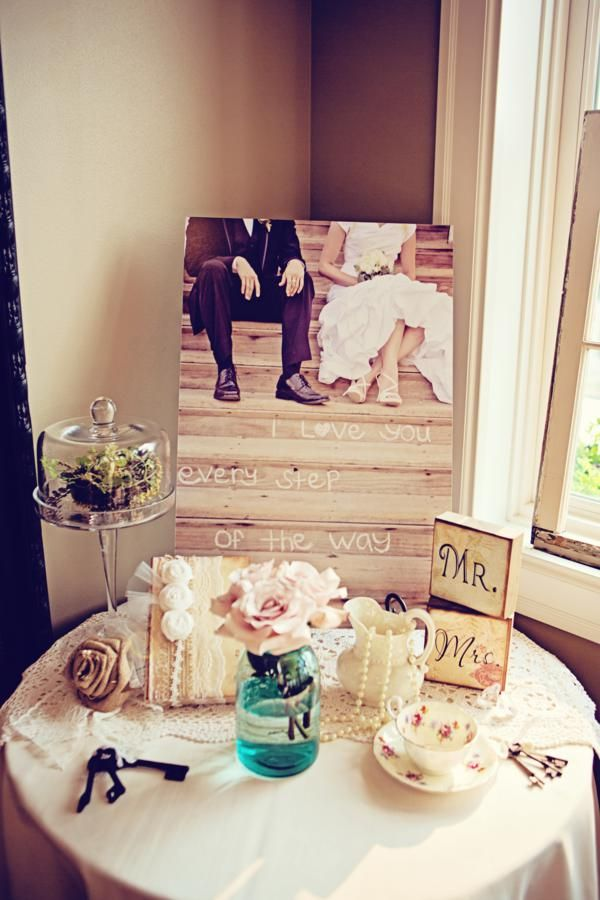 burlap & lace inspired wedding - love the quote on the photo @Brooke Williams Baird Lester