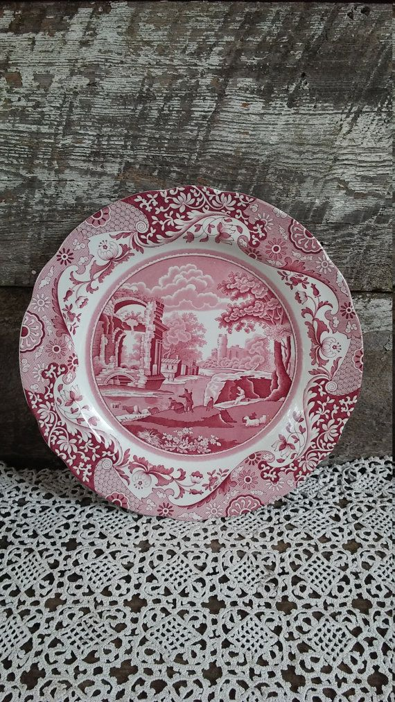 "Spode Red Plate, Spode Archive, ""Italian"", English Dinner Plate, Serving, Red Transferware, 10 1/2"" Round, Floral #EnglishTransferware #FrenchDinnerPlate #dinnerware #ServingPlate #DinnerDishes #ItalianDinnerPlate #SpodeDinnerPlate #ItalianSpode #LargePlate #dishes"