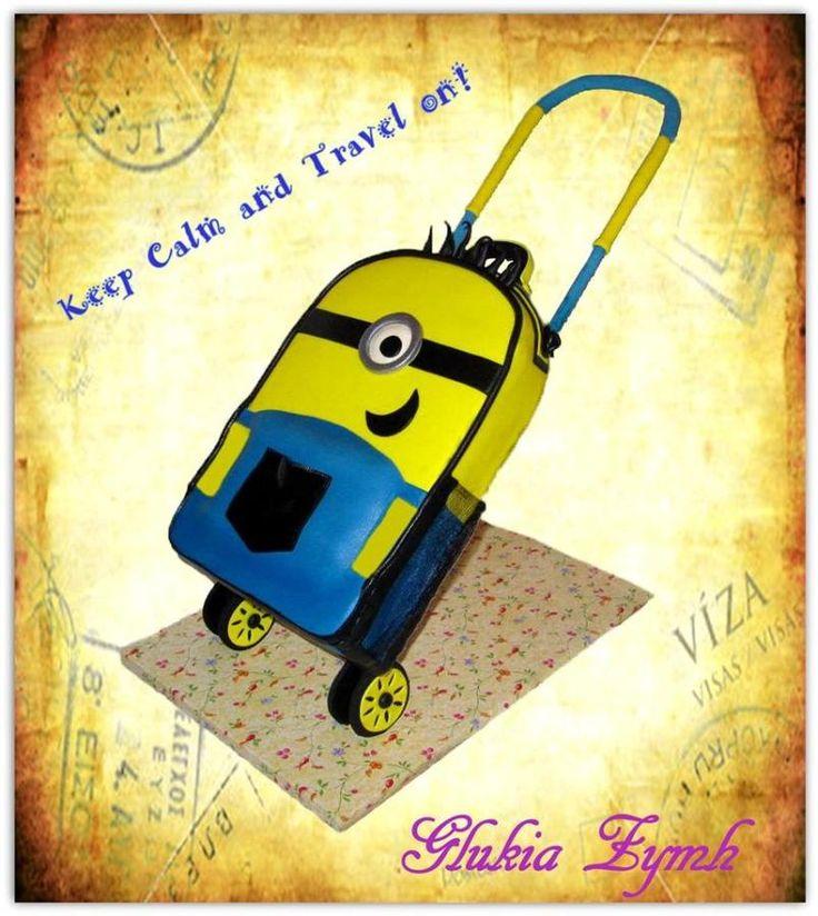 "Rolling Suitcase Cake ""MINION""! - Cake by Morfoula"