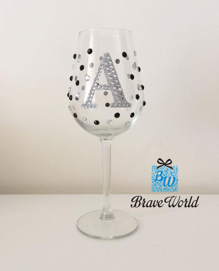 Personalised Hand Decorated Wine Glass with Black Rhinestones. AUD $30 each
