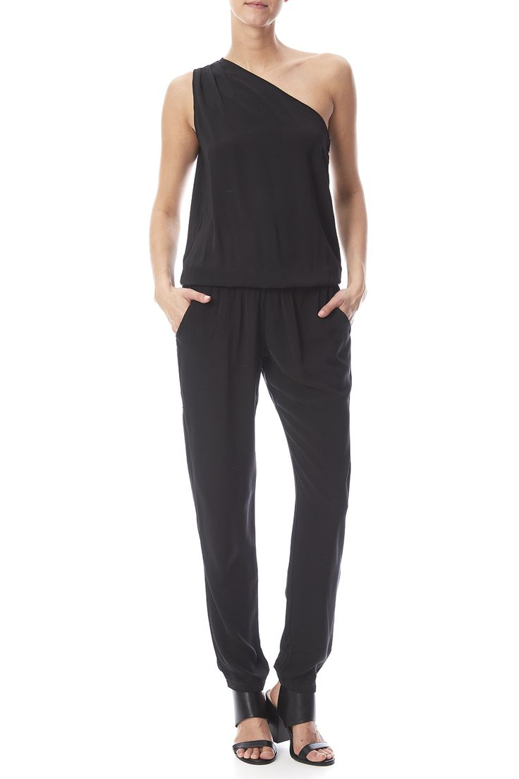 One shoulder black jumpsuit with side pockets and an elastic waist and ankle cuffs.   One Shoulder Jumpsuit by Bobi. Clothing - Jumpsuits & Rompers - Jumpsuits Nebraska
