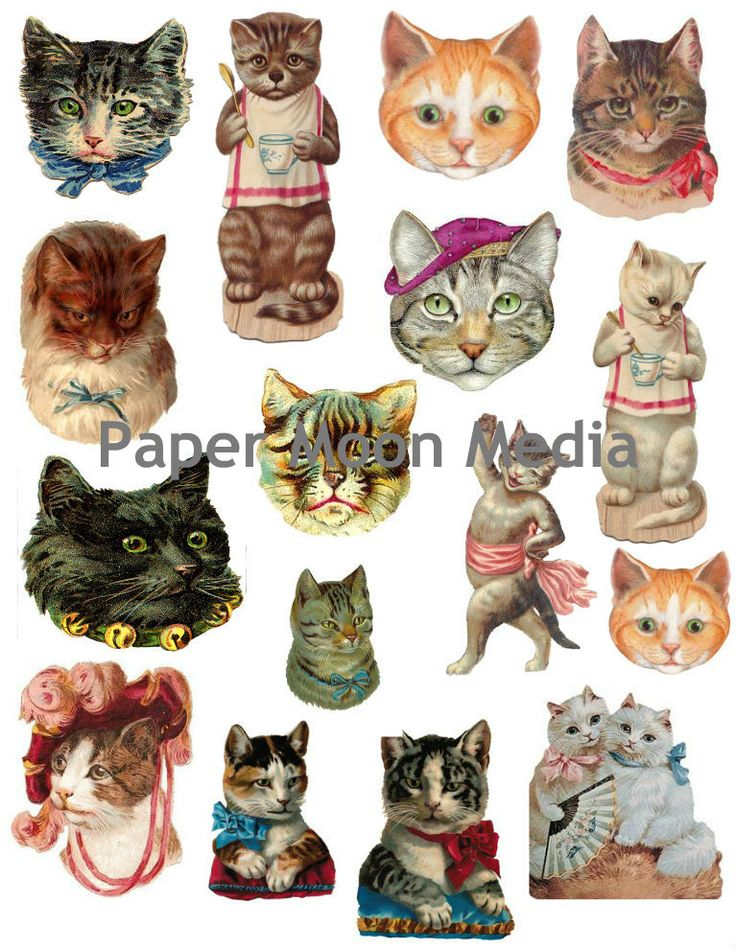 Vintage Victorian Cats Collage Sheet #103