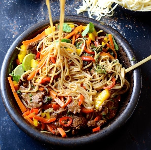 Spicy Beef Stir Fry with Sweet Peppers and Mango #recipe via Bibby's Kitchen http://www.yummly.co/#recipe/Spicy-Beef-Stir-Fry-With-Sweet-Peppers-And-Mango-2005753