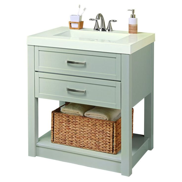 cool grey white bathroom vanity | Shop Style Selections Annabeth 30-in Vanity with White ...