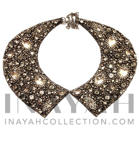 Hand embroidered and crafted using sequins, crsytals and embelishments, this versatile fully clustered Antique Silver Neck Collar will make the perfect new addition to your accessories collection.ll New line of accessories coming soon to www.Inayah collection.com